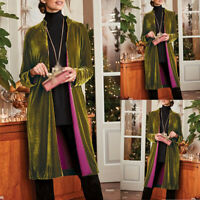 Women Retro Long Drape Velvet Jacket Open Front Cardigan Coat Velour Costume
