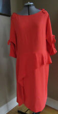 RICKIE FREEMAN FOR TERI JON Crepe 3/4 Sleeve Peplum Sheath Dress Size 18