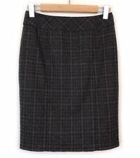Cue Check Print Pencil Skirt Size 6 Ruffle Wool Blend Brown Neutral Work Womens