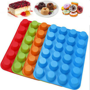Silicone Cake Pan Muffin Candy Pudding Pastry Bakeware Baking Tray Mold 24 Cups