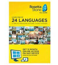 Rosetta Stone Full Course - 24 Languages - Spanish Italian French etc. - 12 Mo.