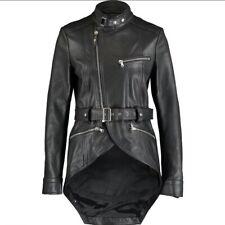 $1,950 Runway DIESEL BLACK GOLD Cowhide Leather Belted Jacket