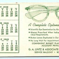 1949 Optometrist Service Lintz Ink Blotter Trade Card Eyeglasses Calendar Vtg D2