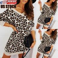 Women's Leopard Long Sleeve Knitted Sweater Pullover Baggy Jumper Top Mini Dress