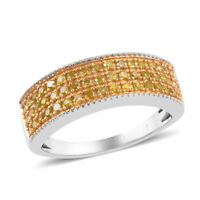 925 Sterling Silver Platinum Rhodium Over Yellow Diamond Band Ring Size 8 Ct 0.3