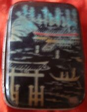 Old Vintage Metal Hand Painted Match Box From Japan 1930