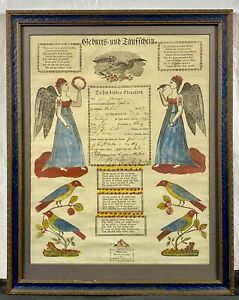 Original 1831 PAFA Hand Colored Fraktur Marriage / Birth Certificate, Allentown