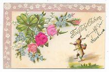 ANTIQUE UDB GERMAN EASTER POSTCARD SILK PINK ROSES BUNNY RABBIT BASKET FULL EGGS