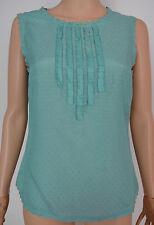 New Monsoon size 12 Aqua Mint Ruffle Lace Spot Top Vest