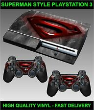 Play station 3 Console Sticker skin Super Man Logo Style skin & 2 X Pad Skins