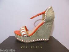 Gucci Tiffany Canvas Espadrille Platform Wedges 370496 39 9