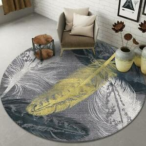 Feather Gray Round Carpet Bedroom Living Room Circle Rug Vintage Floor Mat Decor