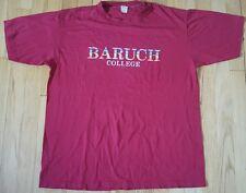 Vintage 80s BARUCH college shirt XL magenta Velva Sheen 50/50 soft thin New York