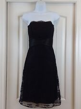 WHBM Strapless Black Floral Lace Overlay Pleated Waist Sz 2 Party/Dinner Dress