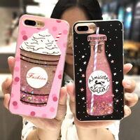 Cute Pattern Dynamic Bling Glitter PC + TPU Phone Case For iPhone X 8 6 7 Plus