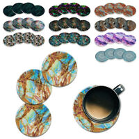 4pc Set Marble Mandala ROUND Ceramic Stone Coasters Mug Tea Cup Hot Cold Drinks