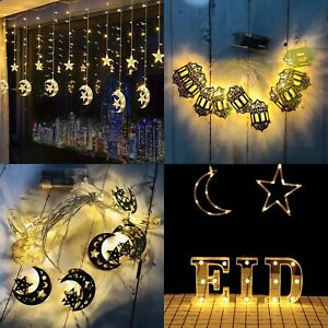 Ramadan Lights Decorations Eid Kareem Mubarak Banner Lights Balloons Boxes