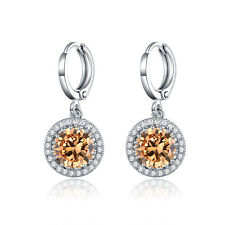 HUCHE Silver Gold Filled Round Yellow Gemstone Topaz Dangle Women Daily Earrings