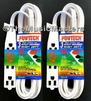 (2) 12' ft Electric AC Extension Cord 3 Outlet Splitter Adapter Power Cord Cable
