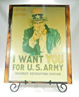"""Vintage Uncle Sam  """"I Want You for the US Army"""" Recruiting Sign Mancave MT"""