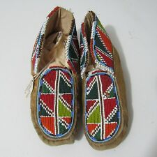 vintage NATIVE AMERICAN FULLY BEADED MOCCASIN 7 INCHES unisex pacific northwest?