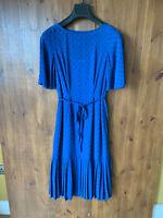 RRP £125 - L.K.BENNETT MIDI SHIFT DRESS Blue Textured Pleated UK 6 / 34 - VGC