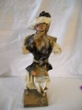 Vintage Paper Mache Figurine of Hispanic Man with Back Basket of Beans with Hat