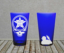 Houston Astros Grateful Dead Steal Your Face Sandblasted Etched Pint Glass