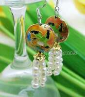 SALE 4-5mm White Round Natural Pearl & 18mm Pink Cloisonne Dangle earring-ear523