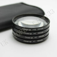 58MM Macro Close Up Lens Filter Kit +1 +2 +4 +10+Bag for Canon 18-55mm 50mm Lens