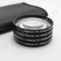 58MM Macro Close Up Lens Filter Kit +1 +2 +4 +10+Bag for Canon 18-55mm 50mm Lens