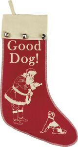 GOOD DOG! Vintage-Look Christmas Pet Stocking, from Primitives by Kathy