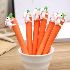 Cute White Rabbit Love Carrot Students Black Neutral Pen Office Signature Pen