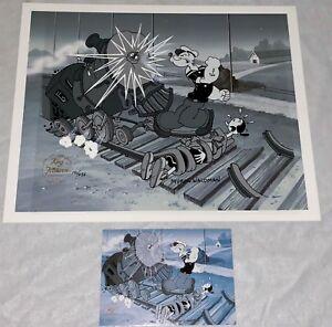 Popeye Cel Great Train Robbery Signed Myron Waldman Rare Cell & Promo Card
