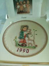 """Vintage Mj Hummel Annual Bas Relief Plate 1990 Boy with Lambs 7 1/2"""" diameter"""