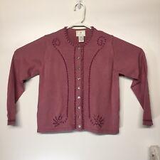 Susan Bristol Vintage 1997 Wool Cardigan Petite S NWT Pink/Mauve Ribbon & Beads