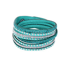 Rhinestone Leather Wrap Punk Bracelet Full Crystal Multilayer Bracelets Bangle