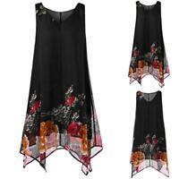 Women Plus Size S-5XL Floral Print Chiffon Sleeveless Irregular Hem Mini Dress