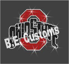 """Rhinestone Transfer """"Ohio State"""" Hotfix , Iron On, Bling"""