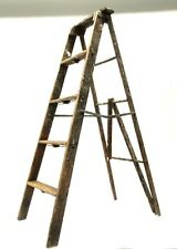 Vintage Wood Ladder Step Stool Folding Rustic Antique Decor Pot Rack Barn AS IS