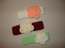 Set of three Handmade Crochet Baby Girl Flowers Headbands for 0-6 month-old