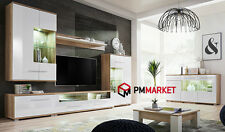 Living Room White High Gloss Chest of Drawers Shelve Storage Display Cabinet TV Clara Full Set Wall Unit Sideboard