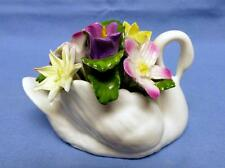 Aynsley Fine Bone China Hand Painted&Hand Modelled Swan w/Bouquet of Flowers VNT