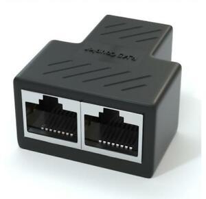 2pcs RJ45 Splitter Adapter LAN Ethernet Cable 1-2 Way Female Port Connector Plug