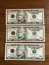 1999 $10 Star Notes currency lot of 3 * Cleveland  * Dallas  Replacement note