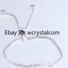 Zircon Rhinestone Adjustable Box Chain Slider For Connector Bracelet Finding