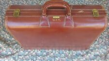 """Vintage WHEARY C.T.V  Brown Leather Suitcase 23"""" Very Rare And Hard To Find"""