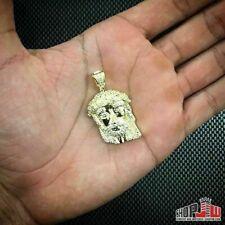 Mens Gold Plated Simulated Diamond Jesus Piece Pendant Chain Set Hip Hop Jewelry