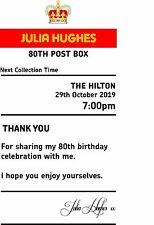 Birthday 80th sign  4' x 7.5'  royal mail insert post box Card Box