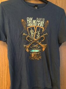 Ray Lamontagne & David Gray- Tour 2010 Blue Shirt.  L.